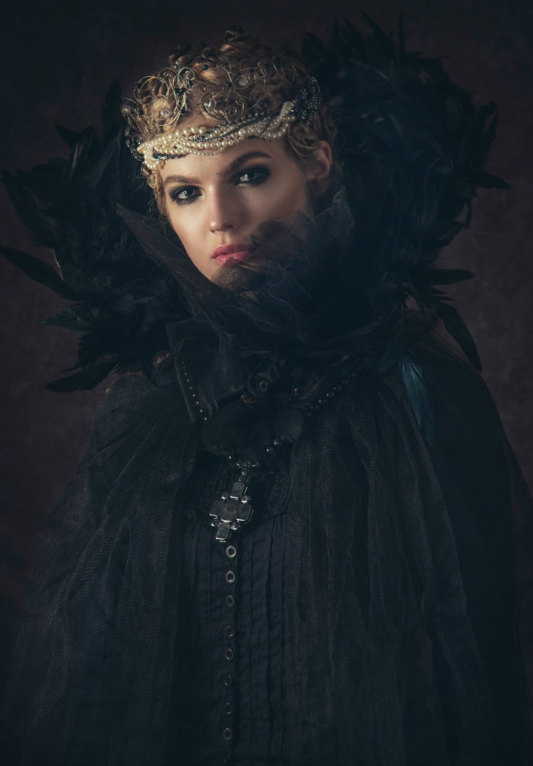 Beautiful Dark Fantasy Queen Wearing Black Cloak and Pearl Crown.