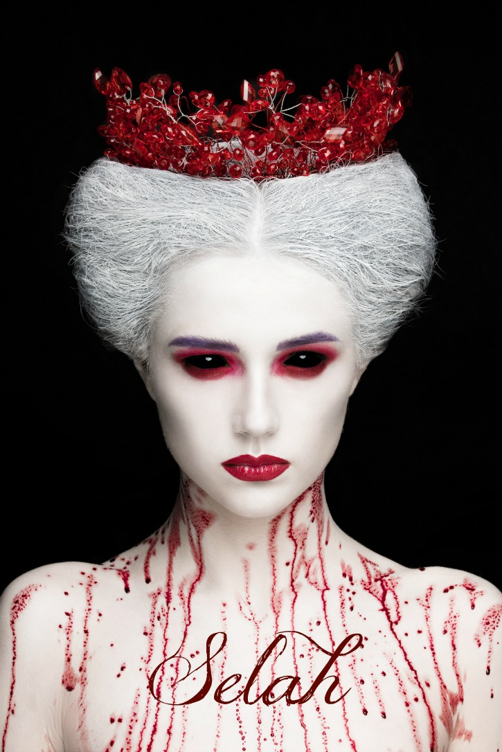 Dark Fantasy Evil Queen Selah with Red Crown, White Hair, Black Eyes and Blood on Chest